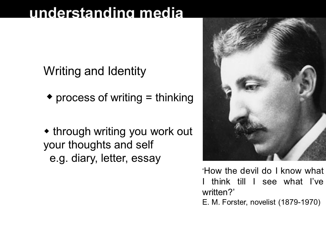Writing and Identity  process of writing = thinking  through writing you work out your thoughts and self e.g.