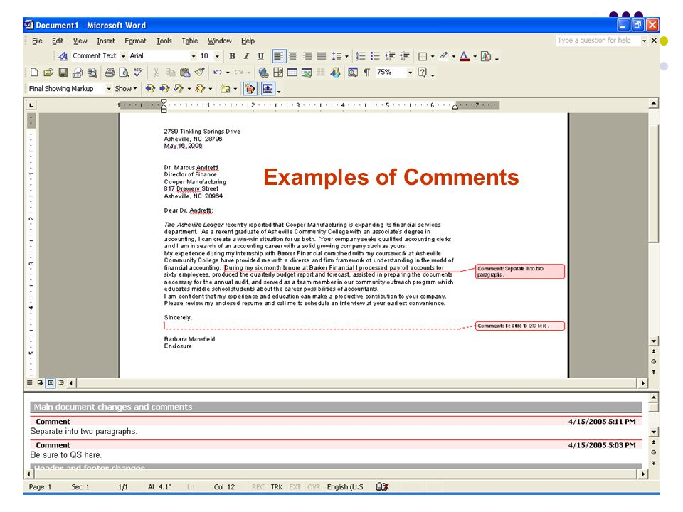 Examples of Comments