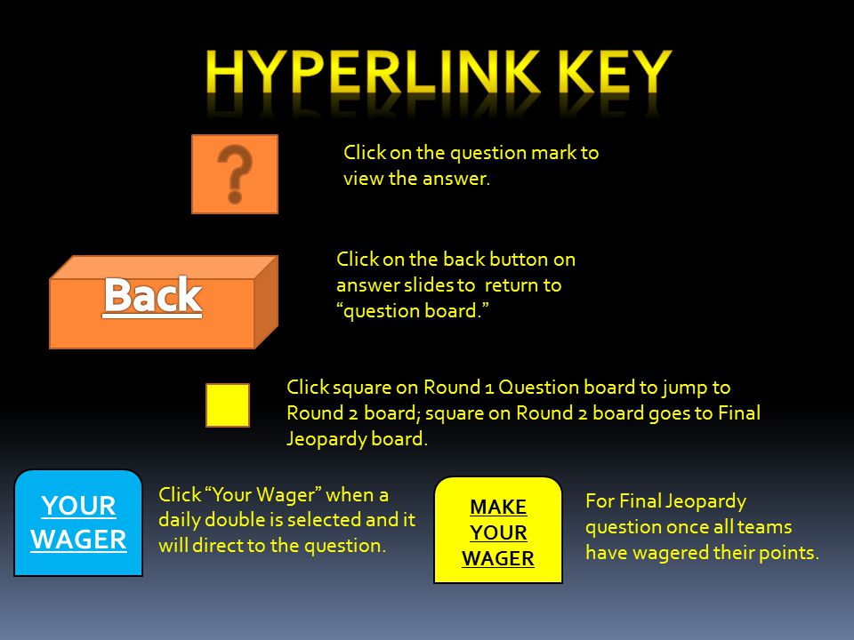 Click on the back button on answer slides to return to question board. Click square on Round 1 Question board to jump to Round 2 board; square on Round 2 board goes to Final Jeopardy board.