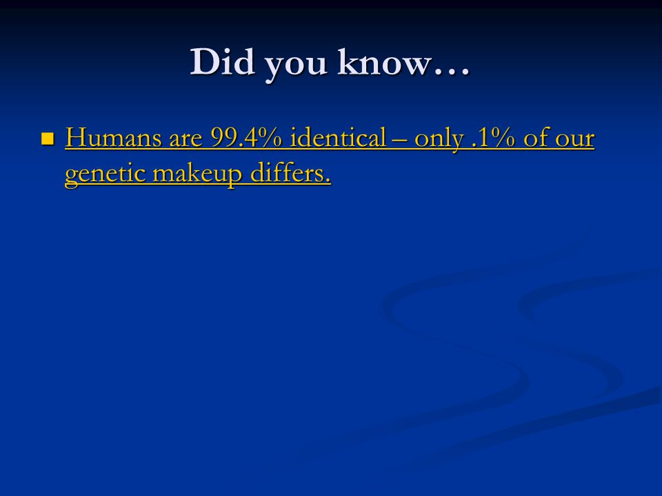 Did you know… Humans are 99.4% identical – only.1% of our genetic makeup differs.