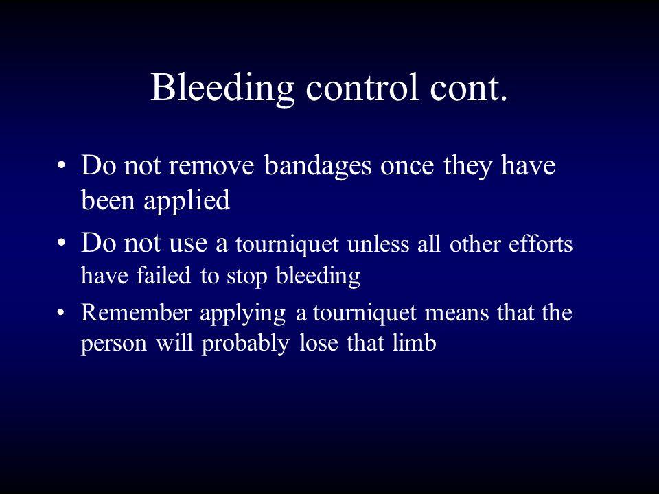 Bleeding control cont.