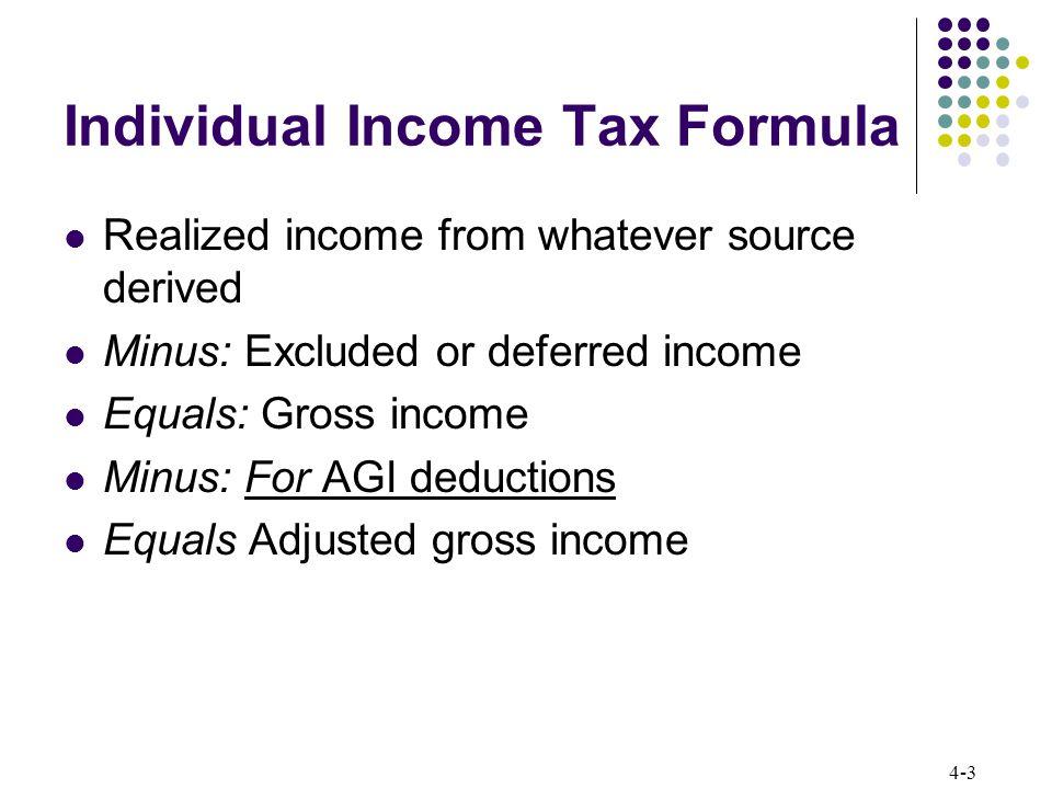 4-14 Individual Income Tax Formula Tax calculation The U.S.