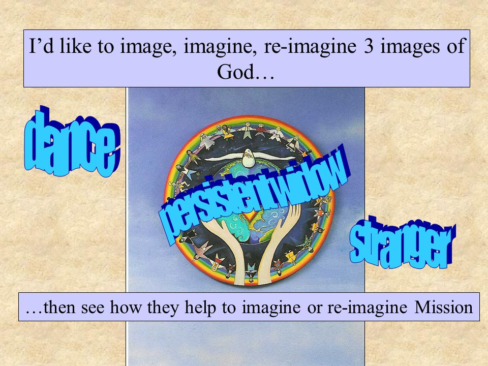 I'd like to image, imagine, re-imagine 3 images of God… …then see how they help to imagine or re-imagine Mission