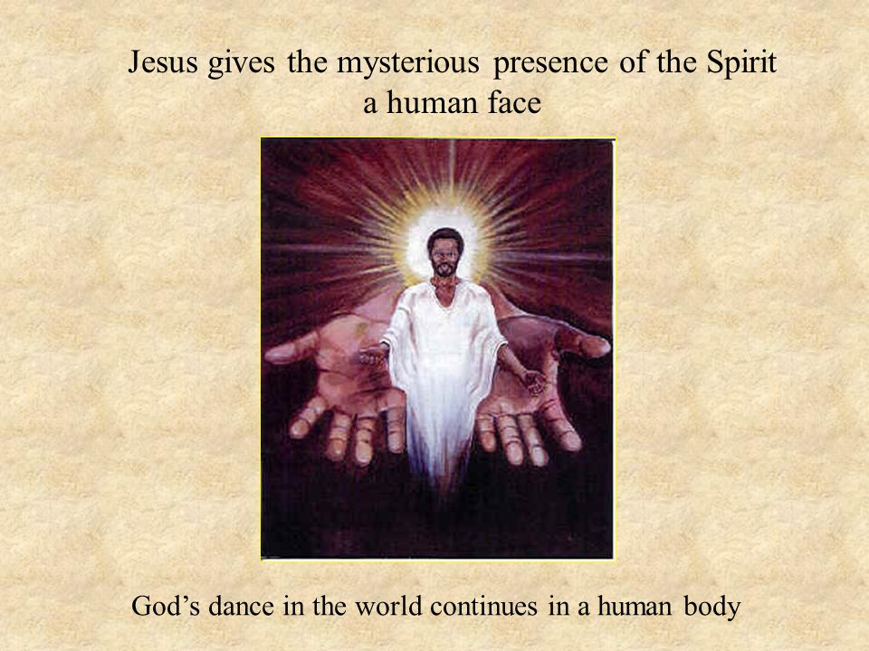 Jesus gives the mysterious presence of the Spirit a human face God's dance in the world continues in a human body