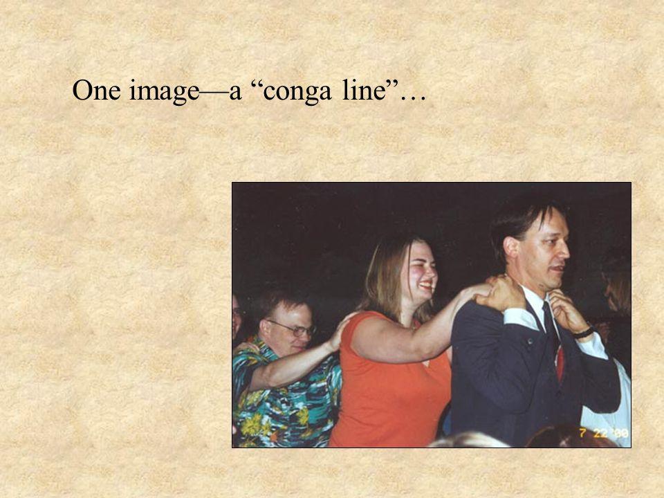 One image—a conga line …