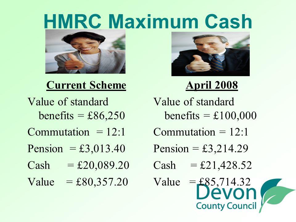 HMRC Maximum Cash Current Scheme Value of standard benefits = £86,250 Commutation = 12:1 Pension = £3,013.40 Cash = £20,089.20 Value = £80,357.20 April 2008 Value of standard benefits = £100,000 Commutation = 12:1 Pension = £3,214.29 Cash = £21,428.52 Value = £85,714.32
