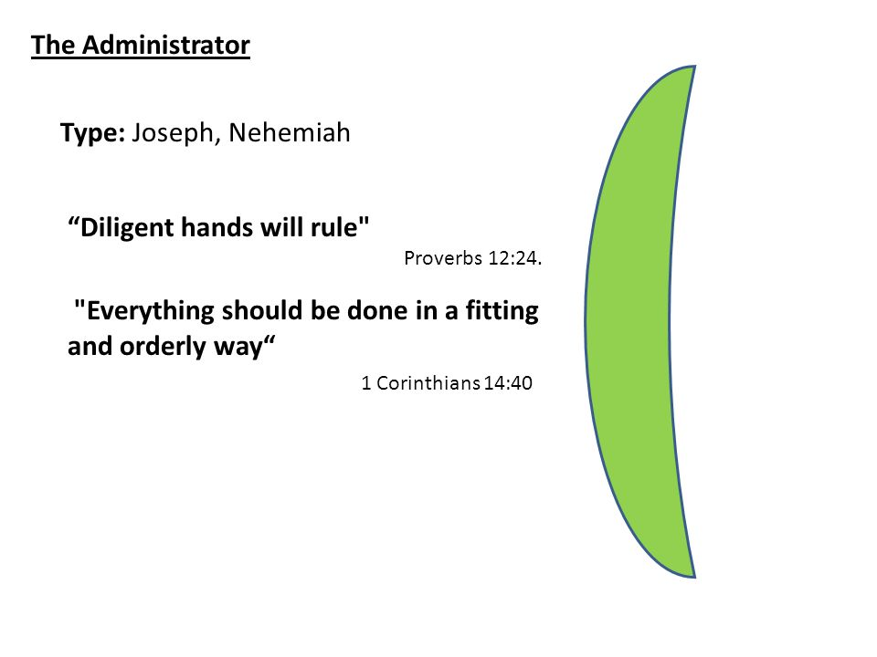 The Administrator Type: Joseph, Nehemiah Diligent hands will rule Proverbs 12:24.