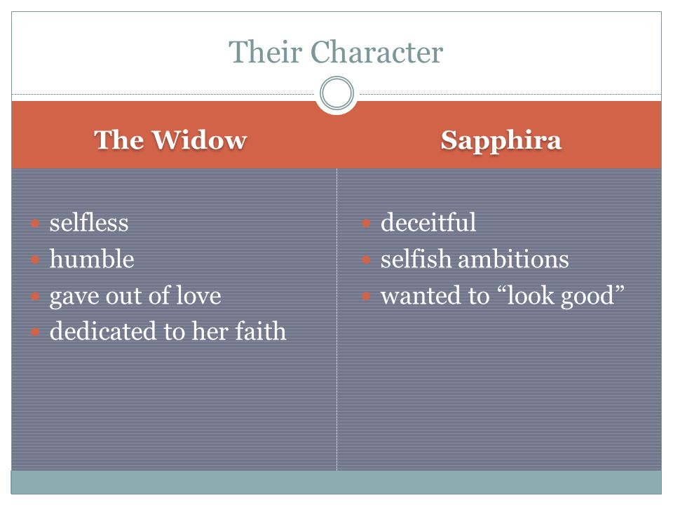 The Widow Sapphira selfless humble gave out of love dedicated to her faith deceitful selfish ambitions wanted to look good Their Character