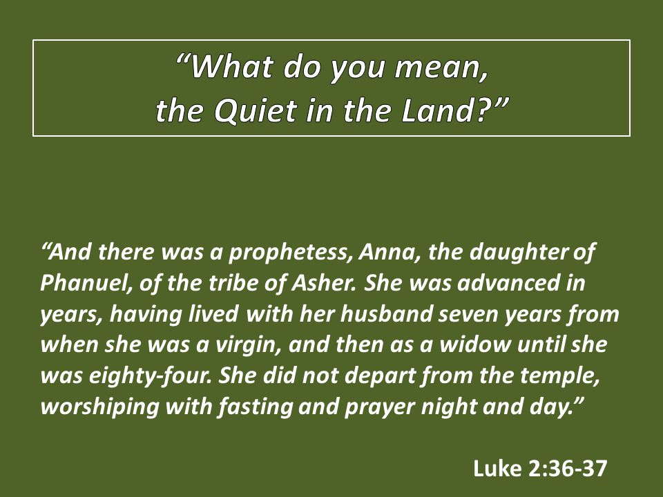 And there was a prophetess, Anna, the daughter of Phanuel, of the tribe of Asher.