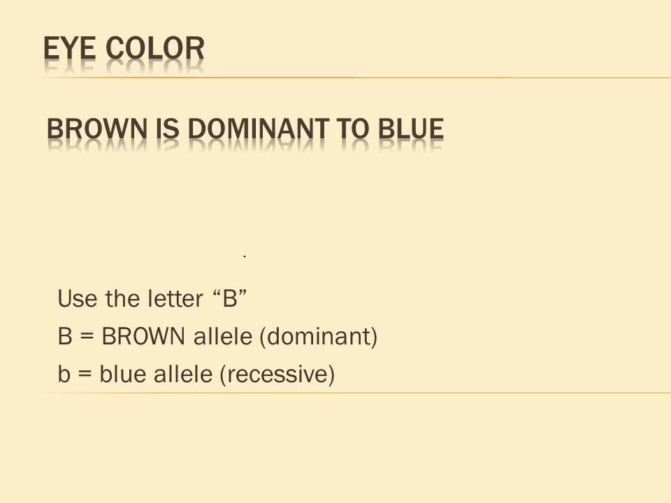 Use the letter B B = BROWN allele (dominant) b = blue allele (recessive).