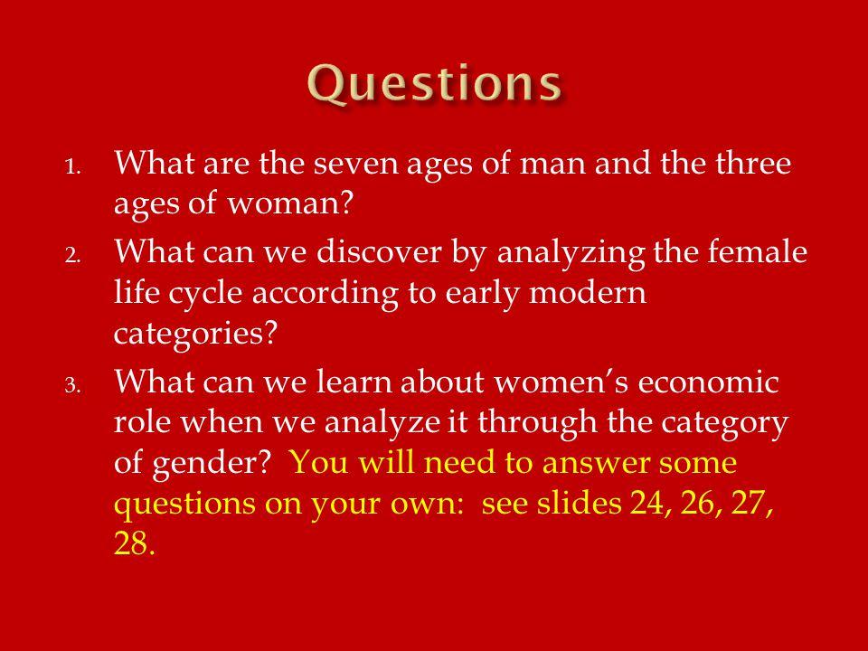 ManWoman 1.Infancy1. Virgin 2. Childhood2. Wife 3.