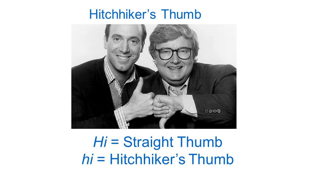 Hitchhiker's Thumb Hi = Straight Thumb hi = Hitchhiker's Thumb