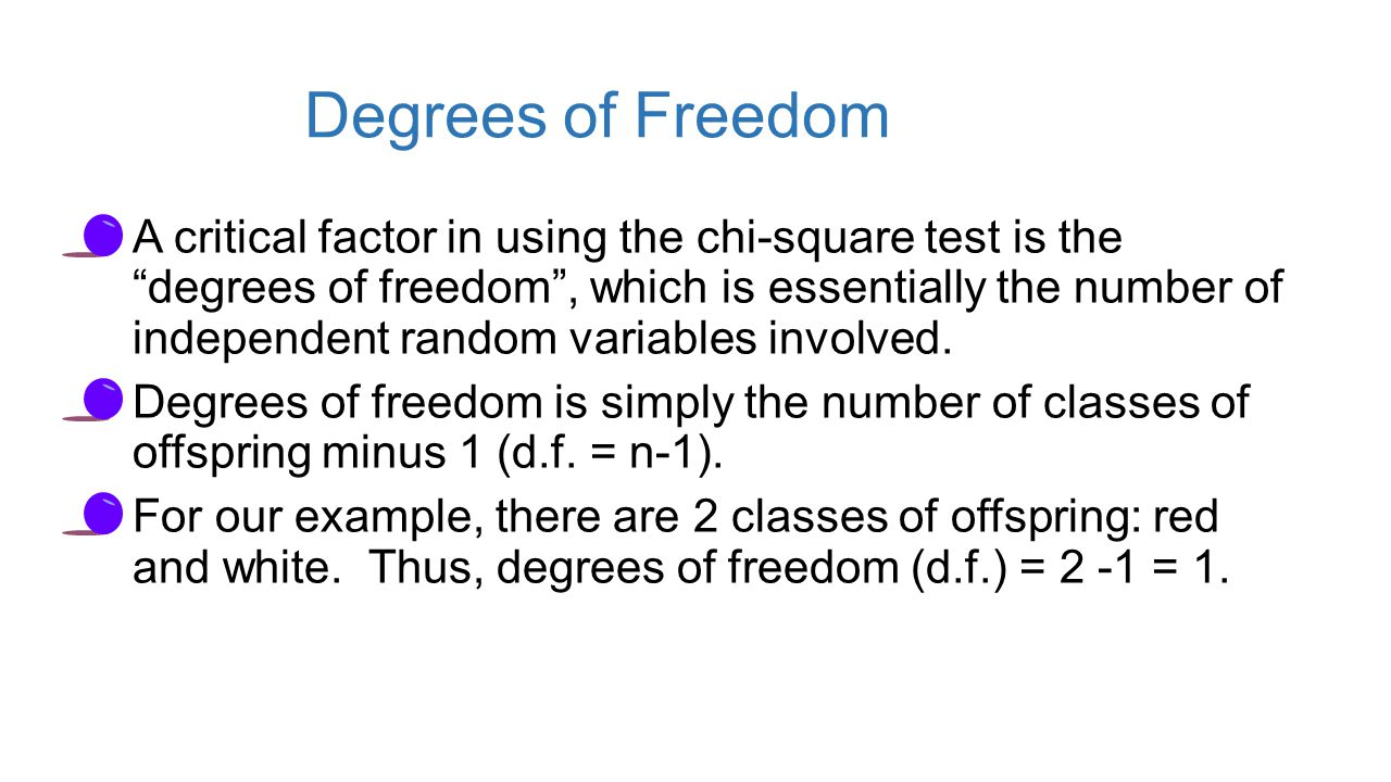 Degrees of Freedom A critical factor in using the chi-square test is the degrees of freedom , which is essentially the number of independent random variables involved.