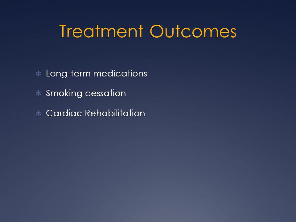 Treatment Outcomes  Long-term medications  Smoking cessation  Cardiac Rehabilitation