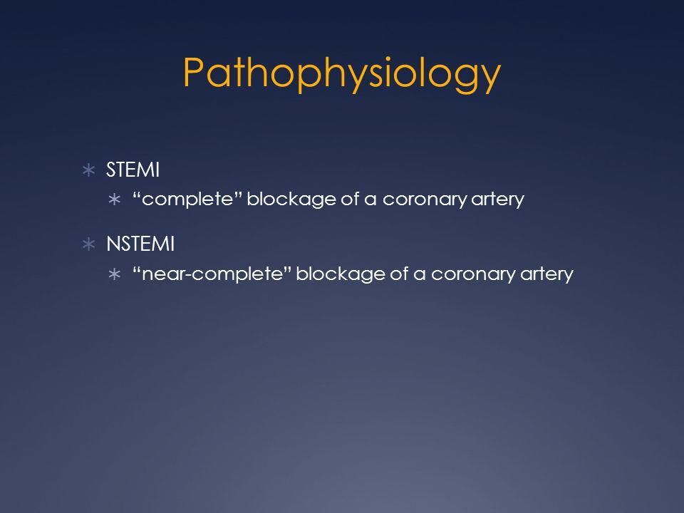 Pathophysiology  STEMI  complete blockage of a coronary artery  NSTEMI  near-complete blockage of a coronary artery