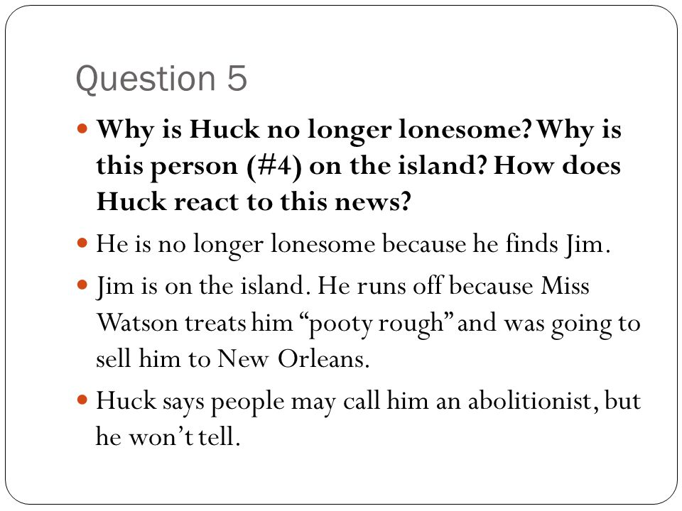 Question 5 Why is Huck no longer lonesome? Why is this person (#4) on the island? How does Huck react to this news? He is no longer lonesome because h