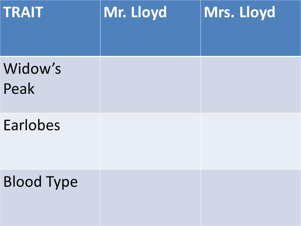 TRAITMr. LloydMrs. Lloyd Widow's Peak Earlobes Blood Type