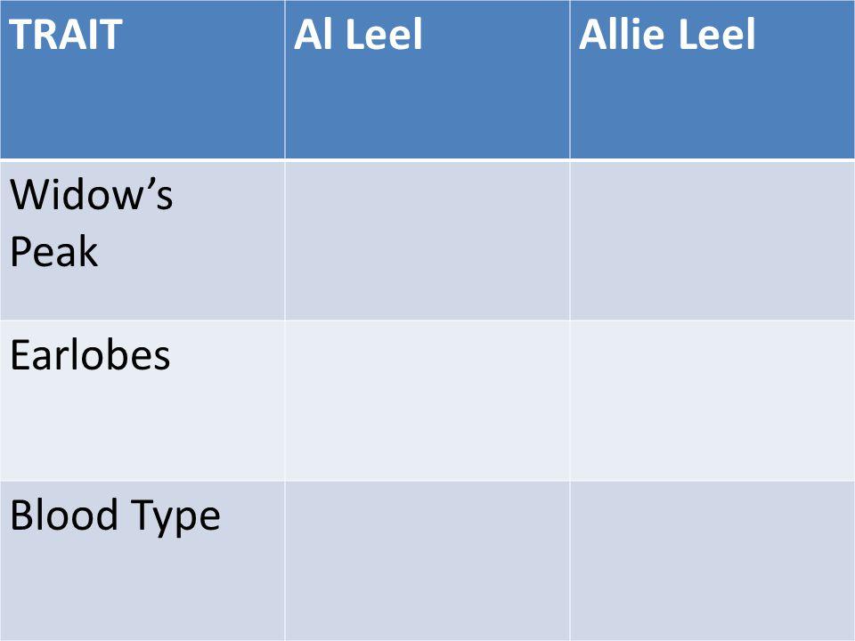 TRAITAl LeelAllie Leel Widow's Peak Earlobes Blood Type