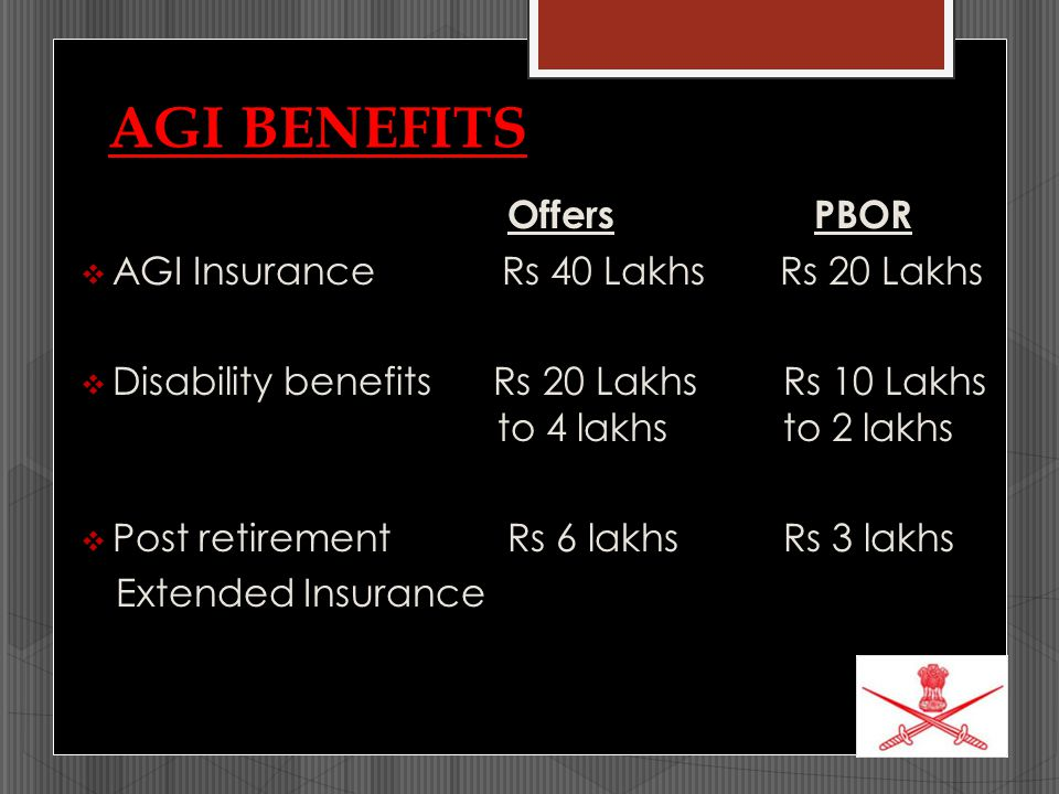 AGI BENEFITS Offers PBOR  AGI Insurance Rs 40 Lakhs Rs 20 Lakhs  Disability benefits Rs 20 Lakhs Rs 10 Lakhs to 4 lakhs to 2 lakhs  Post retirement