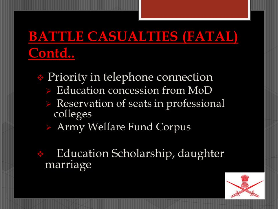BATTLE CASUALTIES (FATAL) Contd..  Priority in telephone connection  Education concession from MoD  Reservation of seats in professional colleges 