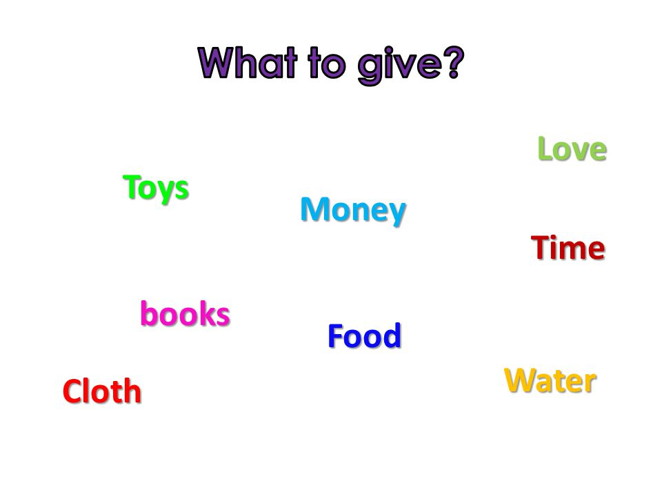 Money Toys Cloth Water Food Time Love books