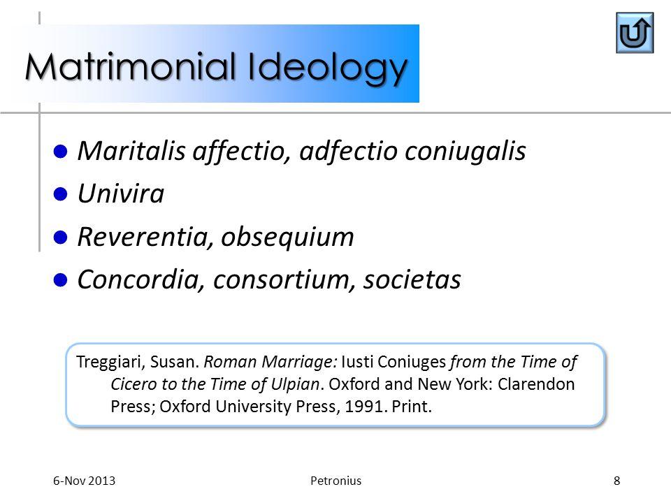 Matrimonial Ideology Maritalis affectio, adfectio coniugalis Univira Reverentia, obsequium Concordia, consortium, societas Treggiari, Susan.