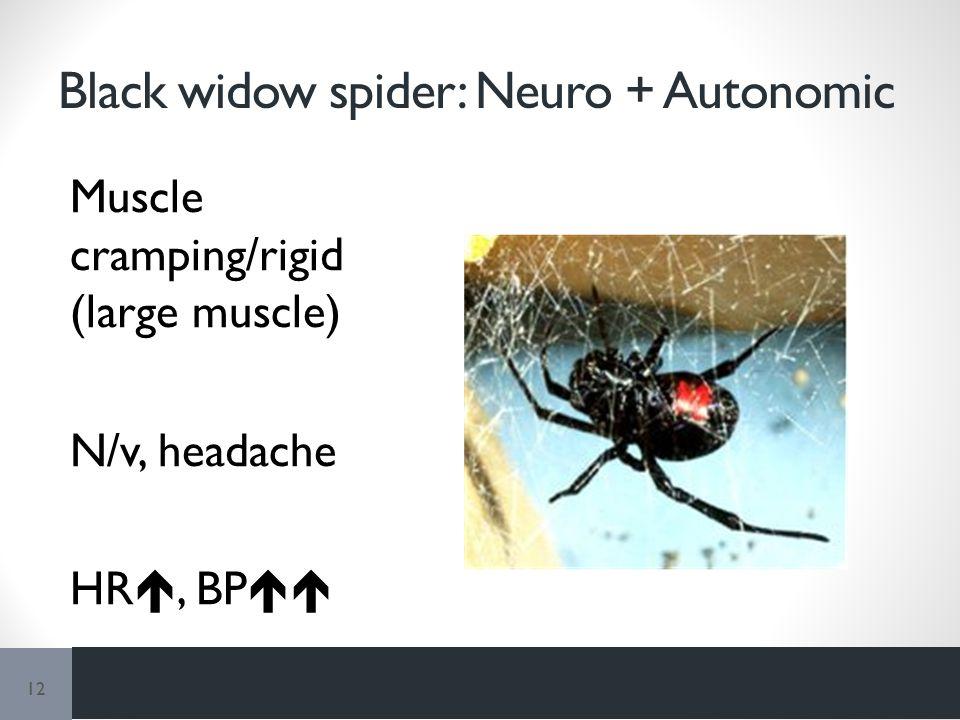 Black widow spider: Neuro + Autonomic Muscle cramping/rigid (large muscle) N/v, headache HR , BP  12