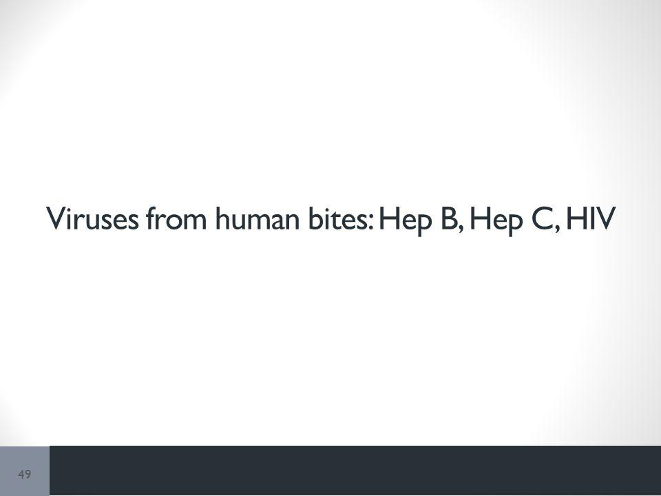 Viruses from human bites: Hep B, Hep C, HIV 49