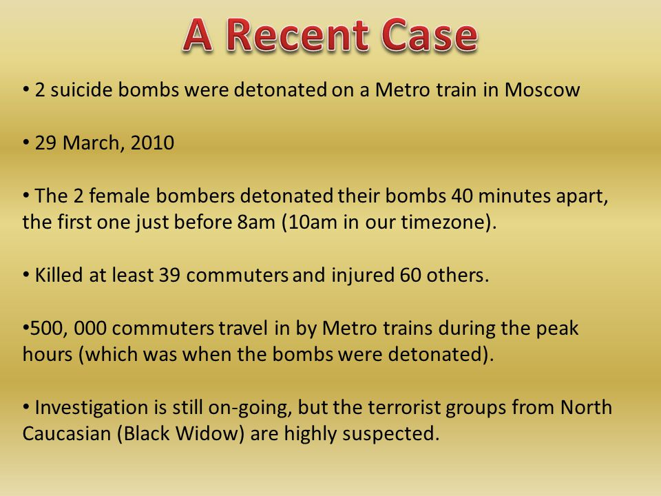 2 suicide bombs were detonated on a Metro train in Moscow 29 March, 2010 The 2 female bombers detonated their bombs 40 minutes apart, the first one just before 8am (10am in our timezone).