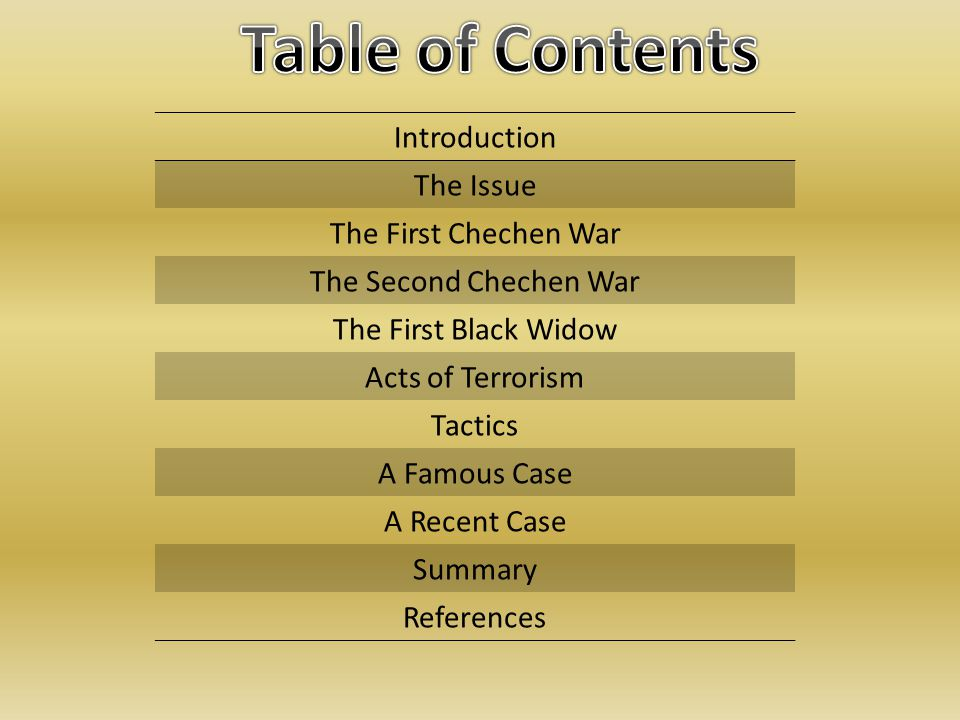 Introduction The Issue The First Chechen War The Second Chechen War The First Black Widow Acts of Terrorism Tactics A Famous Case A Recent Case Summary References