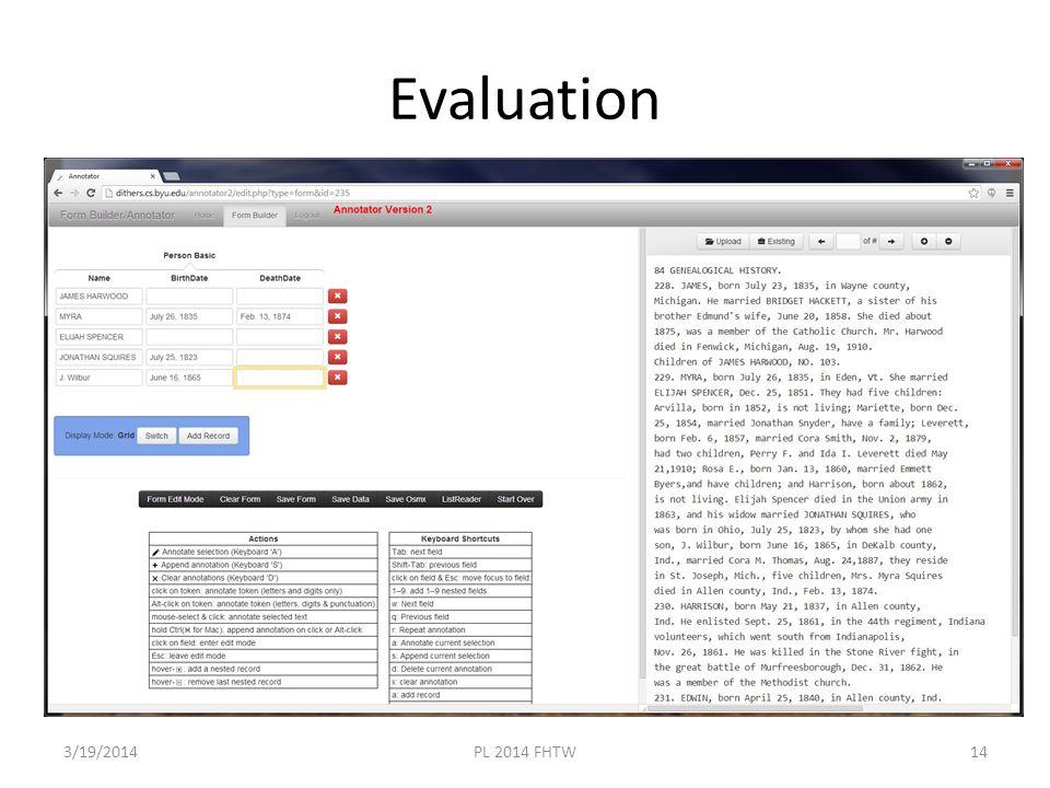 Evaluation 3/19/2014PL 2014 FHTW14