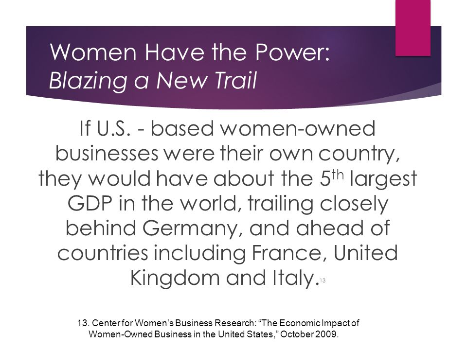 Women Have the Power: Blazing a New Trail If U.S.