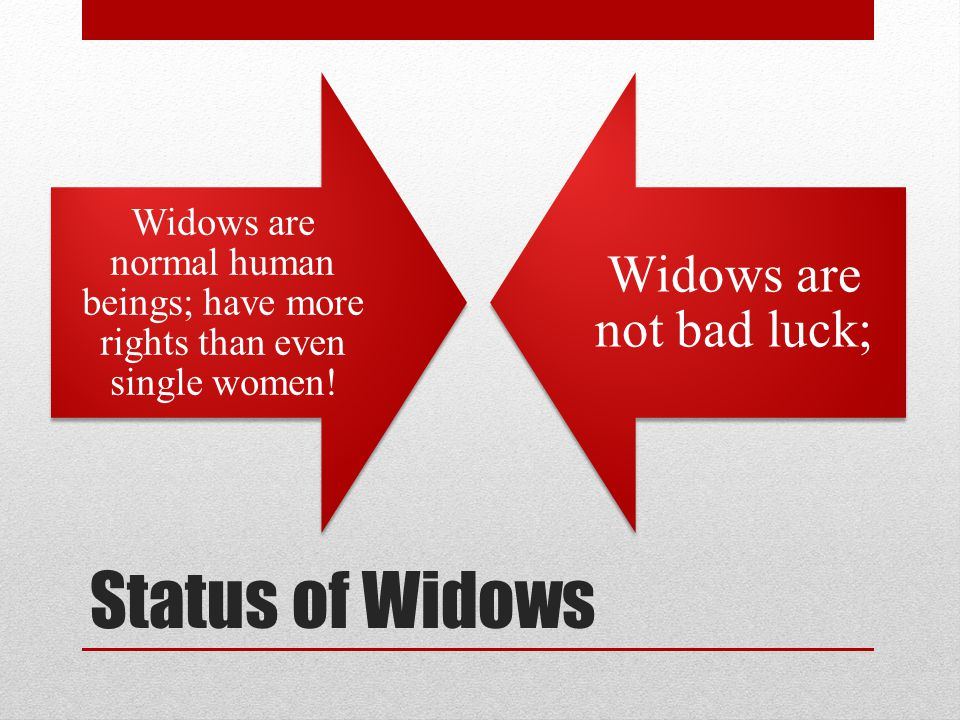 Status of Widows Widows are normal human beings; have more rights than even single women.
