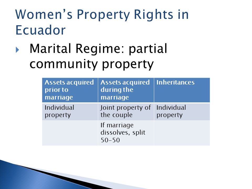  Marital Regime: partial community property Assets acquired prior to marriage Assets acquired during the marriage Inheritances Individual property Joint property of the couple Individual property If marriage dissolves, split 50-50