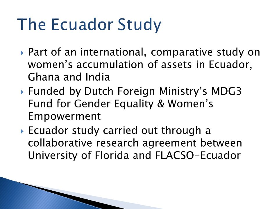  Part of an international, comparative study on women's accumulation of assets in Ecuador, Ghana and India  Funded by Dutch Foreign Ministry's MDG3 Fund for Gender Equality & Women's Empowerment  Ecuador study carried out through a collaborative research agreement between University of Florida and FLACSO-Ecuador