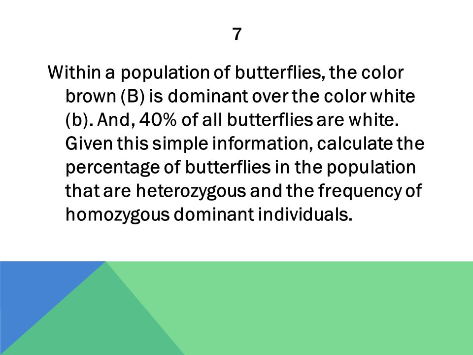 7 Within a population of butterflies, the color brown (B) is dominant over the color white (b). And, 40% of all butterflies are white. Given this simp