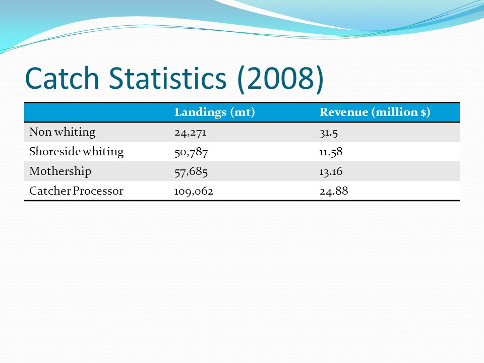 Catch Statistics (2008) Landings (mt)Revenue (million $) Non whiting24,27131.5 Shoreside whiting50,78711.58 Mothership57,68513.16 Catcher Processor109,06224.88