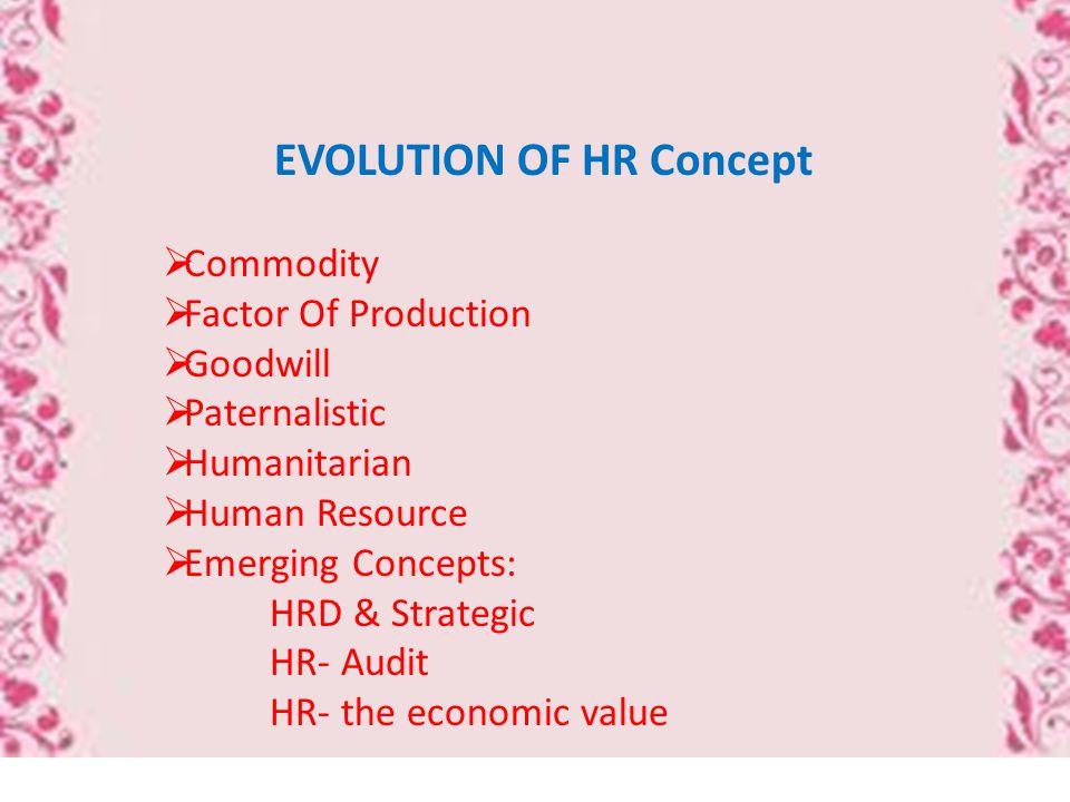 EVOLUTION OF HR Concept  Commodity  Factor Of Production  Goodwill  Paternalistic  Humanitarian  Human Resource  Emerging Concepts: HRD & Strategic HR- Audit HR- the economic value