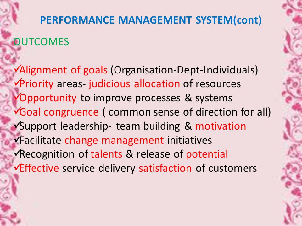 PERFORMANCE MANAGEMENT SYSTEM(cont) OUTCOMES Alignment of goals (Organisation-Dept-Individuals) Priority areas- judicious allocation of resources Opportunity to improve processes & systems Goal congruence ( common sense of direction for all) Support leadership- team building & motivation Facilitate change management initiatives Recognition of talents & release of potential Effective service delivery satisfaction of customers