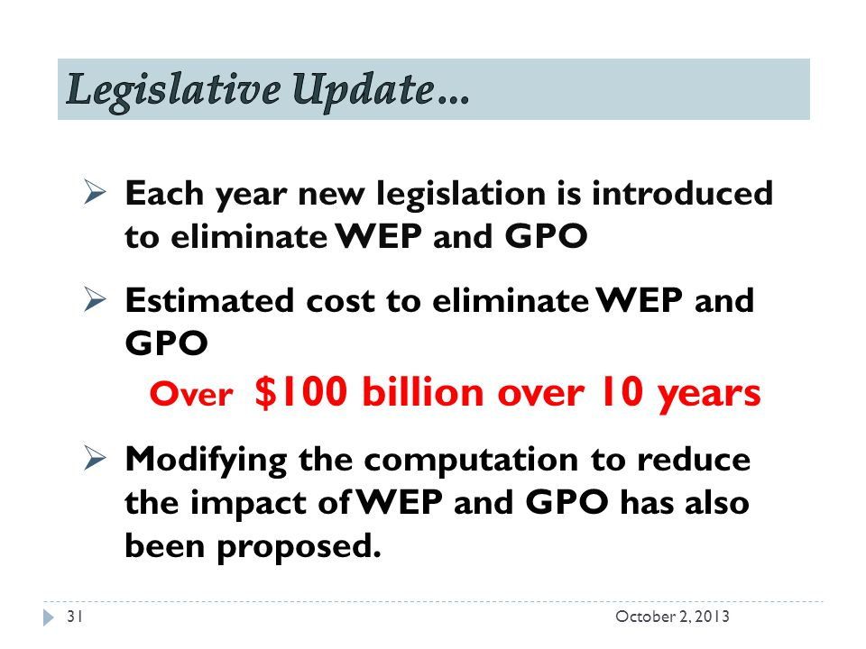  Each year new legislation is introduced to eliminate WEP and GPO  Estimated cost to eliminate WEP and GPO Over $100 billion over 10 years  Modifying the computation to reduce the impact of WEP and GPO has also been proposed.