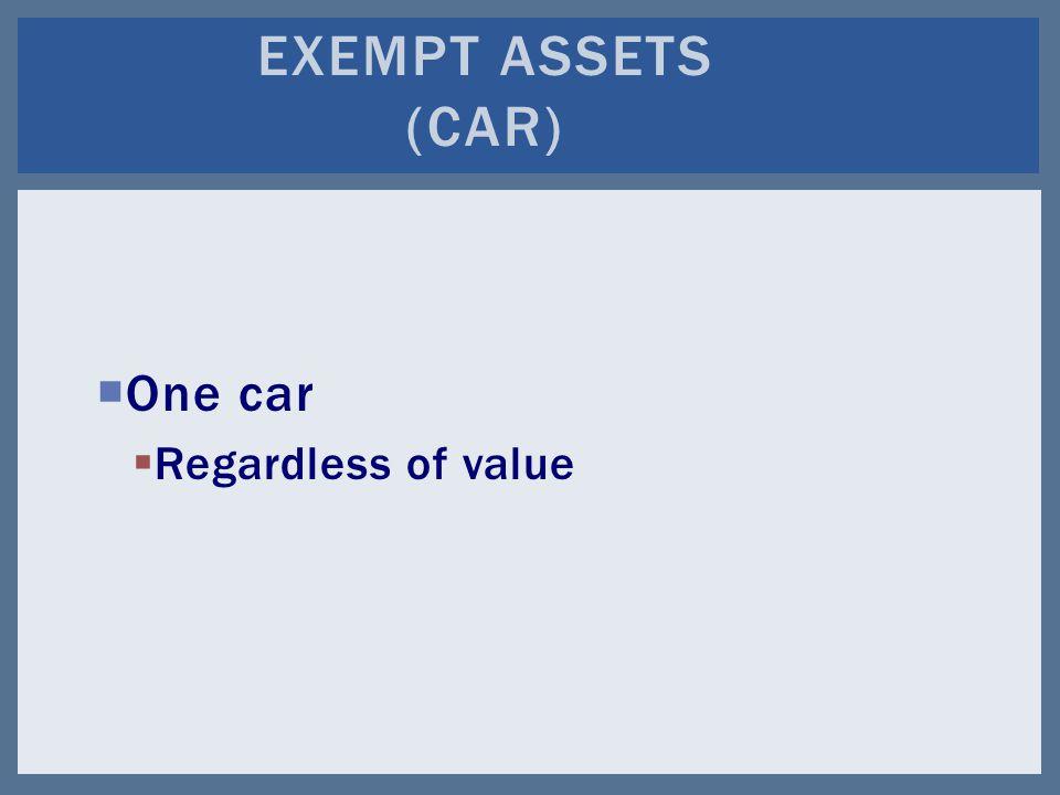  One car  Regardless of value EXEMPT ASSETS (CAR)