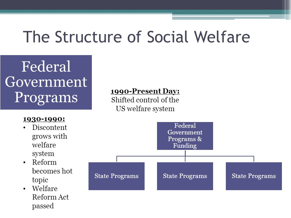 The Structure of Social Welfare 1930-1990: Discontent grows with welfare system Reform becomes hot topic Welfare Reform Act passed 1990-Present Day: Shifted control of the US welfare system