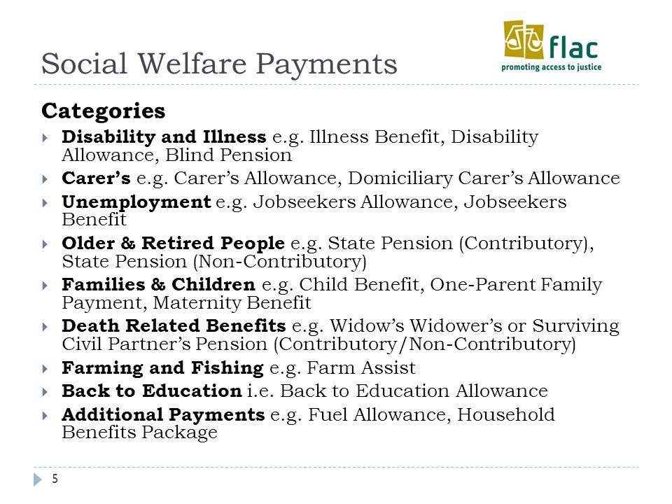 Social Welfare Payments 5 Categories  Disability and Illness e.g.