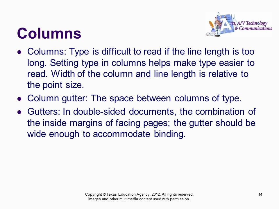 14 Columns Columns: Type is difficult to read if the line length is too long.