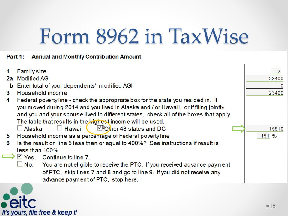 Form 8962 in TaxWise 18