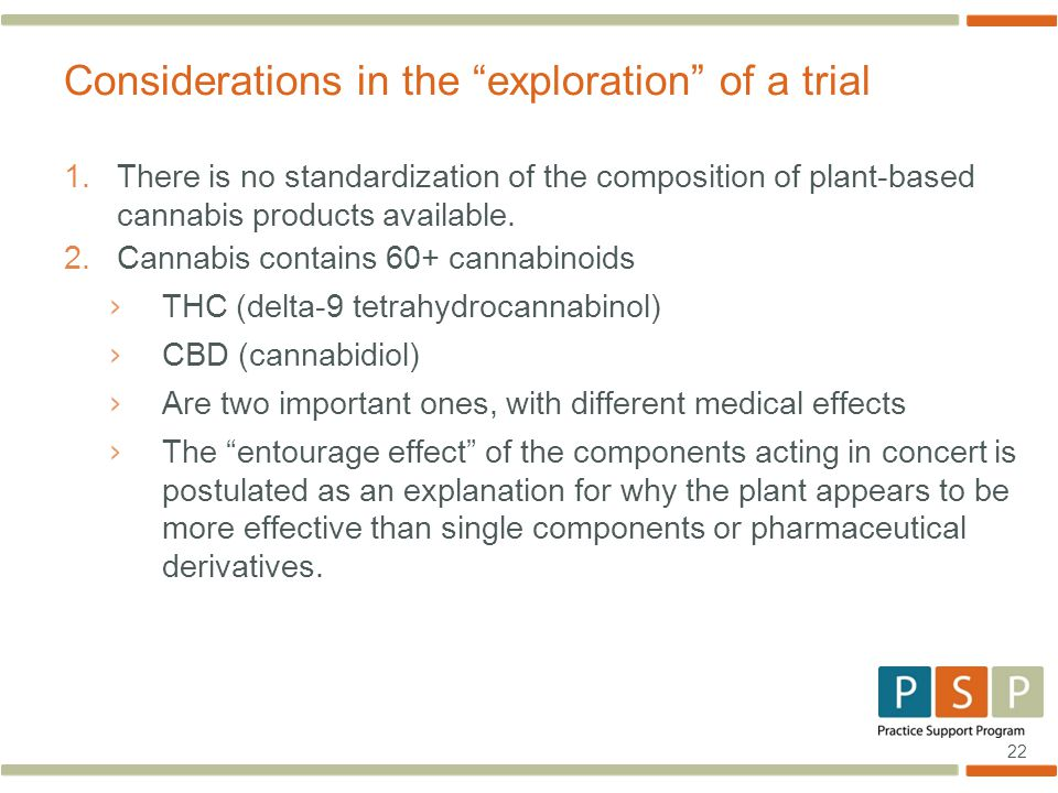 22 1.There is no standardization of the composition of plant-based cannabis products available.