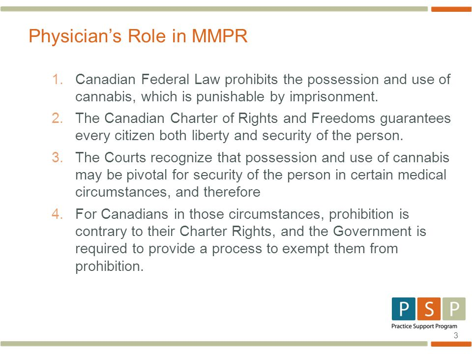 3 1.Canadian Federal Law prohibits the possession and use of cannabis, which is punishable by imprisonment.