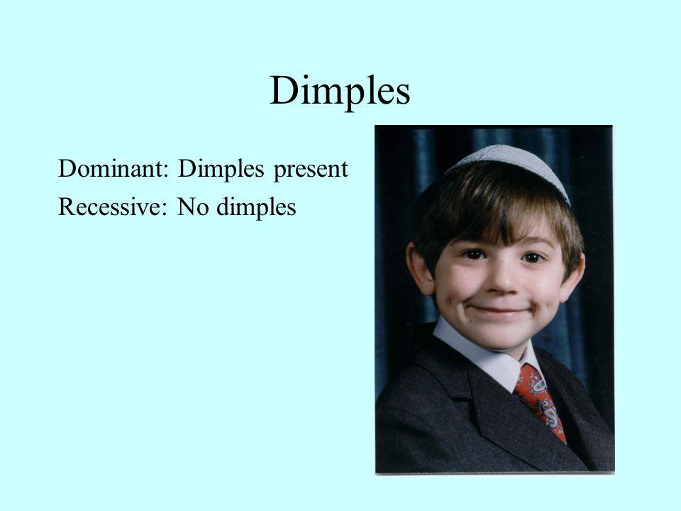 Dimples Dominant: Dimples present Recessive: No dimples