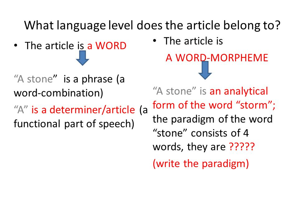"""What language level does the article belong to? The article is a WORD """"A stone"""" is a phrase (a word-combination) """"A"""" is a determiner/article (a functi"""