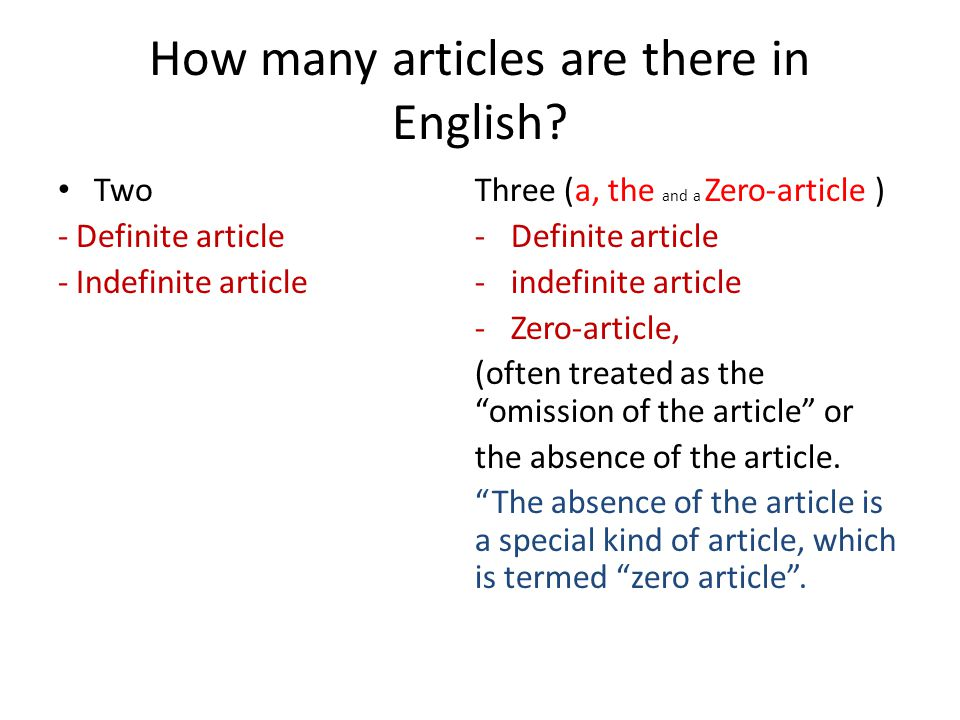How many articles are there in English? Two - Definite article - Indefinite article Three (a, the and a Zero-article ) -Definite article -indefinite a